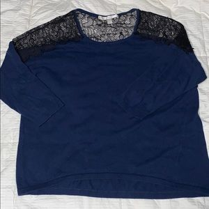 Navy Lauren Conrad Blouse with Lace Detailing